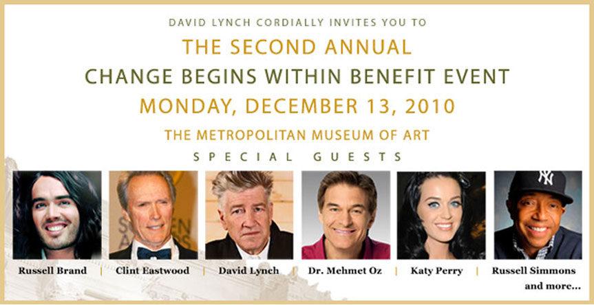 Affiche du 2ème gala de la Fondation David Lynch pour la promotion de la Méditation Transcendantale