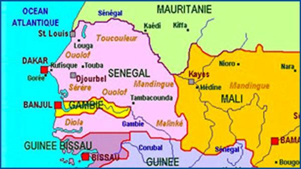 Carte du Sénégal et pays voisins