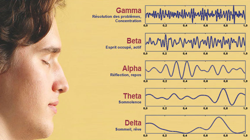Photo de personne méditation et eeg Gamma, Beta, Alpha, Theta, Delta