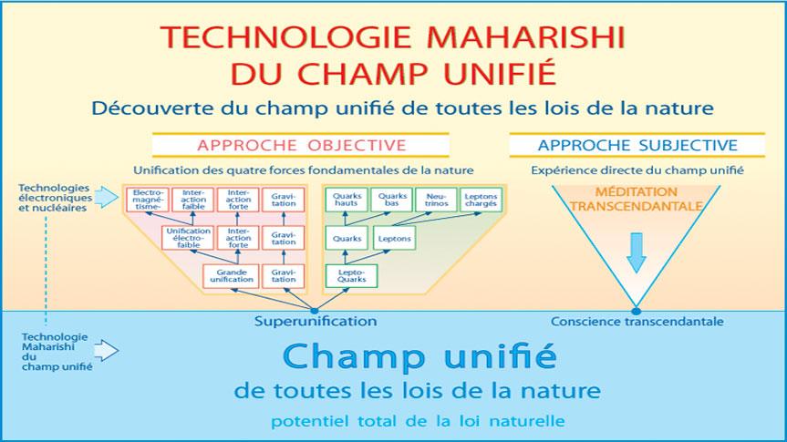 Tableau présentant le parallèle entre le Champ Unifié de la Physique quantique et la Conscience transcendantale