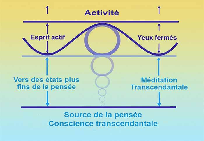 Schéma des différentes couches de l'esprit durant la Méditation Transcendantale
